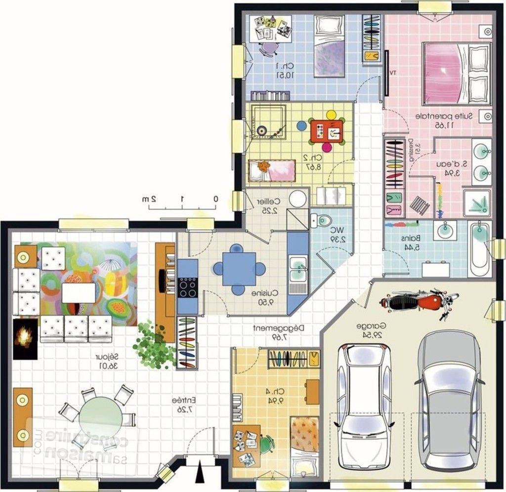 Maison en l maison mobilier jardin for Plan maison 4 chambres